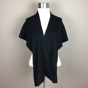 Tristan Accessories - Tristan black knit shawl wrap
