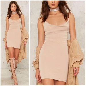 On the Cowl Sleeveless Mini Dress - Beige