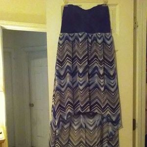 Blue and White Hi Low Strapless Dress