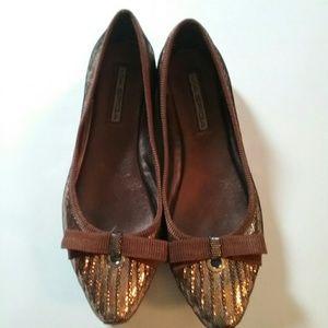 Via Spiga Shoes - VIA Spiga Glitter Balket Bow Flats Size 8M