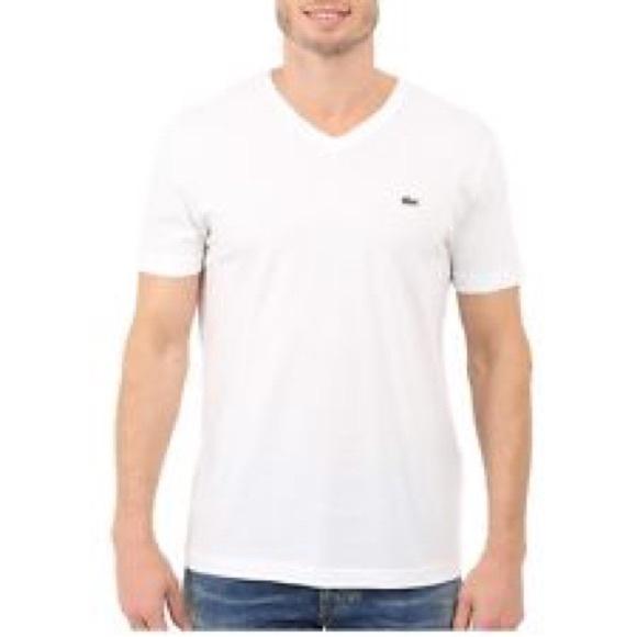 8a22bd3e49 Lacoste Men's cotton White V neck t shirt NEW