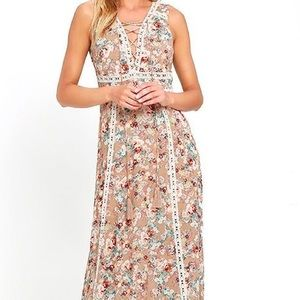 Lulus Dresses & Skirts - Beige Print Floral Maxi Dress