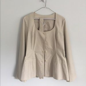 Khaki Jacket Flared Detachable Belt Scoop Neck