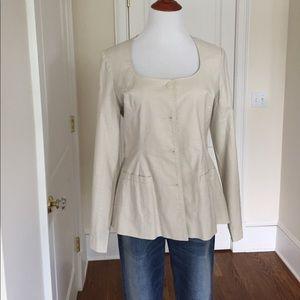 Khaki Jacket Flared Detachable Belt Scoop Neck