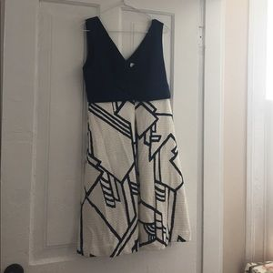 Navy and cream tea dress from Anthro