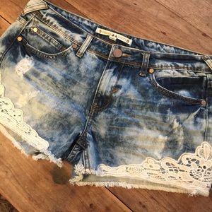 Chelsea & Violet Pants - Chelsea & Violet Acid Wash Crochet Denim Shorts