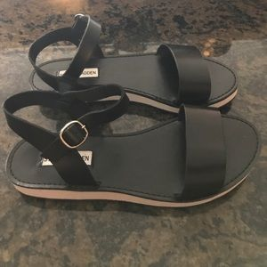 Steve Madden Shoes - Black leather white bottom flat form sandal