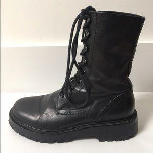 Ann Demeulemeester Shoes - Ann Demeulemeester Round Toe Combat Boots