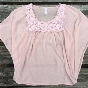 Xhilaration Dusty Pink Silk-Like Crochet Blouse