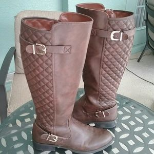 Merona Shoes - Brown Quilted Riding Boots