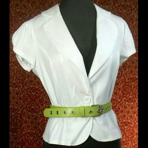 Wet Seal Jackets & Blazers - WET SEAL white cap sleeve pep lunch jacket M