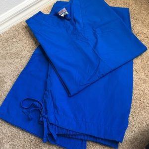 Cherokee Tops - Royal Blue Scrub Set by Cherokee