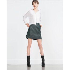 Zara faux leather Green skirt