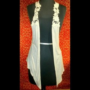 love on a hanger Jackets & Blazers - LOVE ON A HANGER cream Rayon w/lace straps vest S