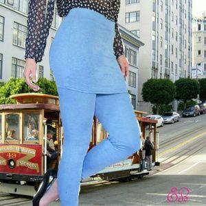 Peony and Moss Pants - PEONY AND MOSS Blue Skirted Leggings