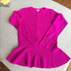 "Lilly Pulitzer ""Aurora"" Pink Peplum Sweater"