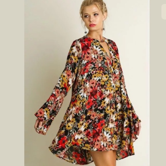 Umgee BOHO Black Floral Bell Sleeve Trapeze Swing Dress Tunic Top S M L