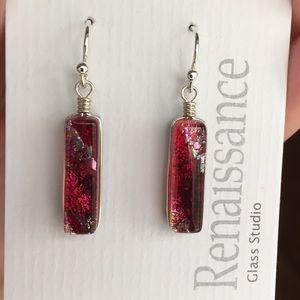 Jewelry - NWT Red Glass Dangle Earrings