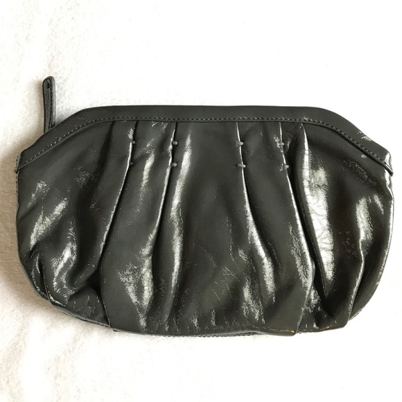Handbags - GAP gray patent leather clutch.