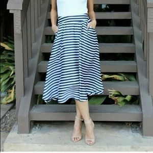 Relished Dresses & Skirts - RELISHED Blue & White Striped Flare Midi Skirt