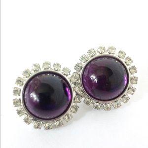 Jewelry - Purple & Crystal Post Earrings