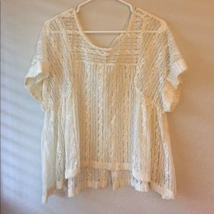 Free People All Lace Cream Top