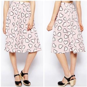ASOS Dresses & Skirts - ASOS Heart Print Midi Skirt