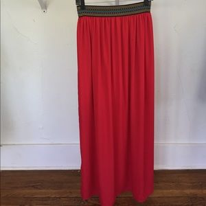 Francesca's Collections Dresses & Skirts - GORGEOUS Red silky maxi skirt with fun waistband