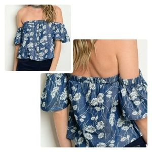 Denim Floral Off Shoulder Top