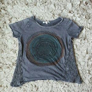 Boheme Tops - Crochet-Detail Burnout Tee