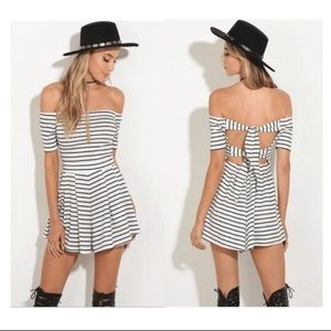 NWT black and white off the shoulder stripe dress