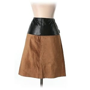 Genuine Leather & Suede Designer Skirt