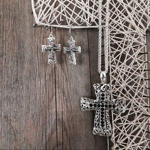 Jewelry - ✨Cross earring & necklace set✨