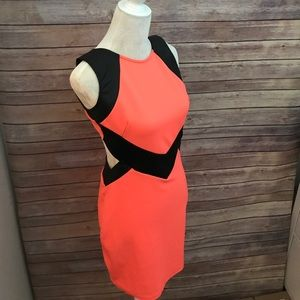 Coral, Black Faux Leather Open Back Dress