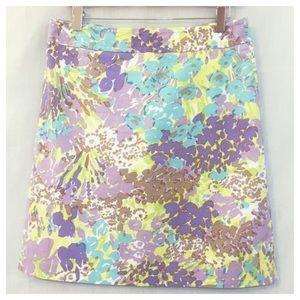 Talbots Purple Floral Cotton Pencil Skirt