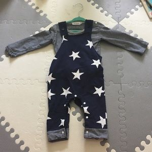 Rags to Raches Other - Star Overalls Longall Romper Stripe Hipster Boy