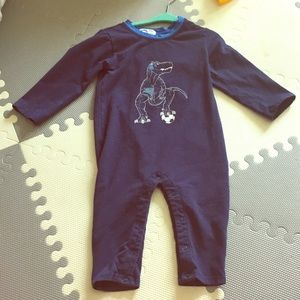 Rags to Raches Other - Dinosaur Soccer Boy Romper EUC