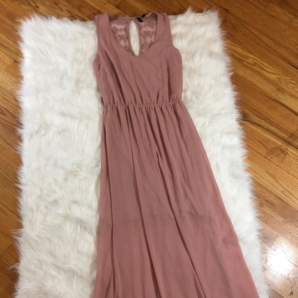 Nordstrom Dresses Want And Need Mauve Sheer Maxi Dress W Half Slip
