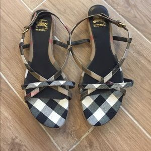 Burberry Shoes - Burberry Plaid Printed Sandals Size 10