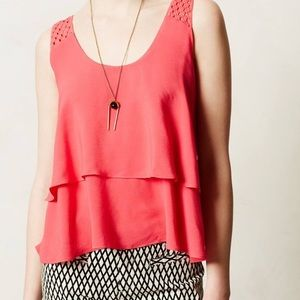 Anthropologie Tops - Anthropologie HD in Paris pink tiered blouse