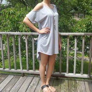 Doublju Dresses & Skirts - Cold Shoulder Hi Low T Shirt Dress