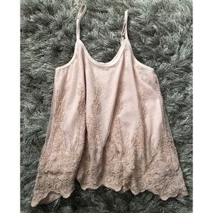 American Rag Tops - Dreamy Blush Nude Lace Top