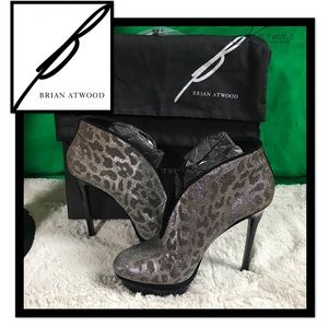 B Brian Atwood Shoes - B Brian Atwood Fortosa Leopard Glitter Booties 8