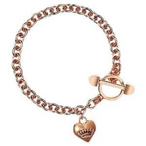 Juicy Couture Rose Gold B Puffed Heart Bracelet