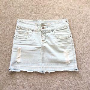 Oh Boy! Destructed Light Jeans Skirt