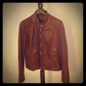 Bernardo Jackets & Blazers - Bernardo Cognac Leather Scuba Jacket