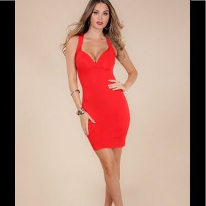 bfd0da51303b Sexy Red Bandage Dress with braided detail on back
