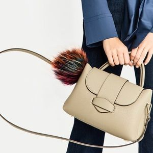 Zara Taupe Gray Mini Pom Pom City Bag