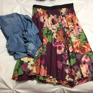 🌸 Old Navy Floral Midi Swing Skirt 🌸