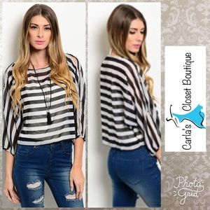 Tops - Black and White Striped Sheer Top